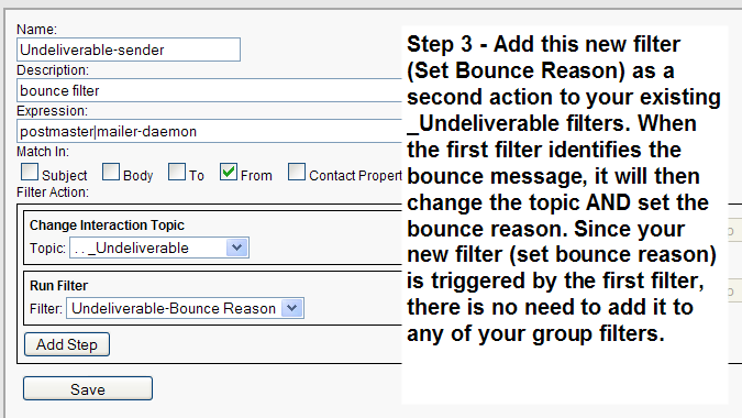 Adding a second action to the bounce filters